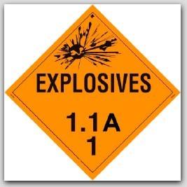 Class 1.1a Explosives Self Adhesive Vinyl Placards 25/pkg