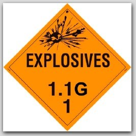 Class 1.1g Explosives Self Adhesive Vinyl Placards 25/pkg