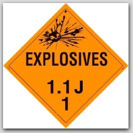 Class 1.1j Explosives Self Adhesive Vinyl Placards 25/pkg