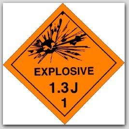 Class 1.3j Explosives Self Adhesive Vinyl Placards 25/pkg