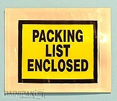 "7""x5-1/2"" Yellow Solid Print Packing List Enclosed Envelopes 1000/cs"
