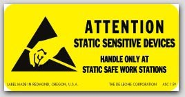 """1x2"""" Attention Static Devices Military Standard Labels 1000/rl"""