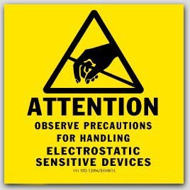 """4x4"""" Attention Electrostatic Sensitive Devices Anti-static ESD Caution Labels. 500/rl"""