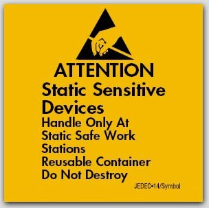 """4x4"""" Attention Static Sensitive Devices Labels 500/rl"""