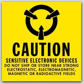"4x4"" Caution Sensitive Electronic Devices Labels 500/rl"
