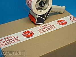 """2""""x55yd Stop If Seal Is Broken Tape - 36rls/cs"""