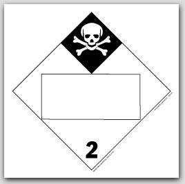 Inhalation Hazard Class 2 Self Adhesive Vinyl Placards 25/pkg
