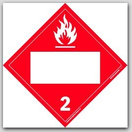 Flammable Gas Class 2 Self Adhesive Vinyl Placards 25/pkg