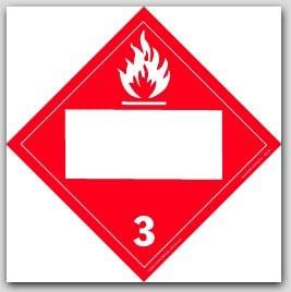 Flammable Liquids Class 3 Self Adhesive Vinyl Placards 25/pkg