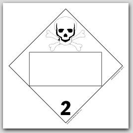 Toxic Poison Class 2 Polycoated Tagboard Placards 25/pkg