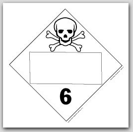 Toxic Poisonous Class 6 Self Adhesive Vinyl Placards 25/pkg