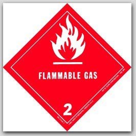 """4x4"""" Class 2 Flammable Gas Paper Labels 500/rl"""