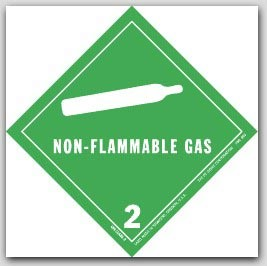 """4x4"""" Class 2 Non-Flammable Gas Paper Labels 500/rl"""