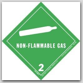 "4x4"" Class 2 Non-Flammable Gas Vinyl Labels 500/rl"
