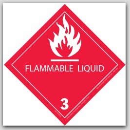 """4x4"""" Class 3 Flammable Liquid Vinyl Labels 500/rl"""