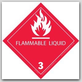 """4x4"""" Class 3 Flammable Liquid Labels Red and White 500/rl"""