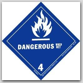 "4x4"" Class 4 Dangerous When Wet Vinyl Labels 500/rl"