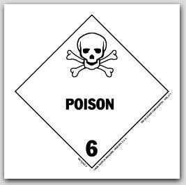 """4x4"""" Class 6 Poison Vinyl Labels 500/rl"""