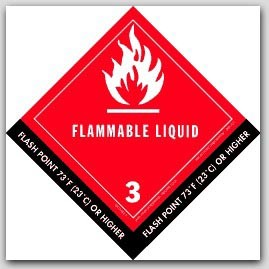 "4-1/2x4-1/2"" Class 3 Flammable Liquid Paper Labels 500/rl"