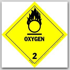 "4x4"" Class 2 Oxygen Vinyl Labels 500/rl"