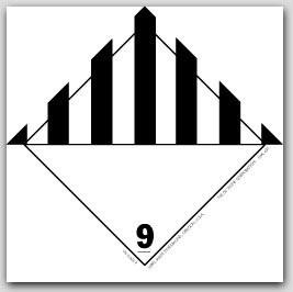 "4x4"" Class 9 Misc Dangerous Goods Vinyl Labels 500/rl"
