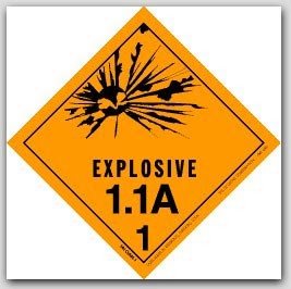 "4x4"" Class 1.1a Explosives Paper Labels 500/rl"