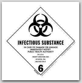 """4x4"""" Class 6 Infectous Substance Vinyl Labels 500/rl"""
