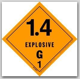 "4x4"" Class 1.4g Explosives Vinyl Labels 500/rl"