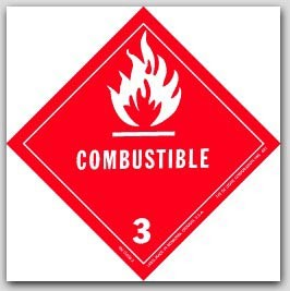 "4x4"" Class 3 Flammable Liquid Paper Labels 500/rl"