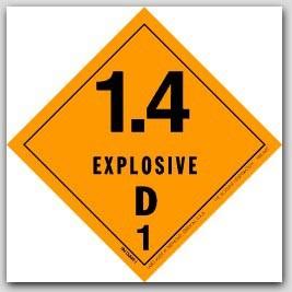 "4x4"" Class 1.4d Explosives Paper Labels 500/rl"