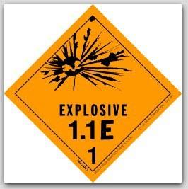 "4x4"" Class 1.1e Explosives Paper Labels 500/rl"
