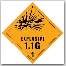 "4x4"" Class 1.1g Explosives Paper Labels 500/rl"