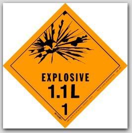"4x4"" Class 1.1l Explosives Paper Labels 500/rl"