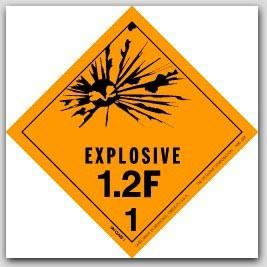 "4x4"" Class 1.2f Explosives Paper Labels 500/rl"