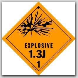 "4x4"" Class 1.3j Explosives Paper Labels 500/rl"