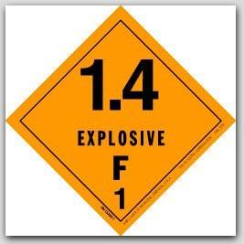 "4x4"" Class 1.4f Explosives Paper Labels 500/rl"