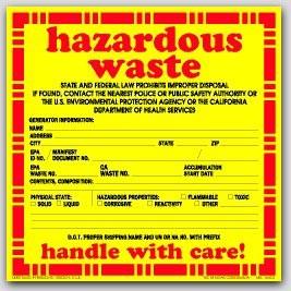 "6x6"" Hazardous Waste Vinyl Waring Labels 100/pkg"