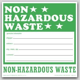 "6x6"" Non Hazardous Waste Vinyl Labels 100/pkg"