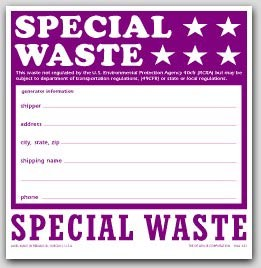 "6x6"" Special Waste Vinyl Labels 100/pkg"