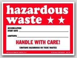 "6x6"" Hazardous Waste Vinyl Labels 100/pkg"