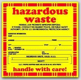 "6x6"" Hazardous Waste Solid Vinyl Labels 100/pkg"