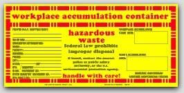 "5x10-1/2"" Accumulation Container Vinyl Labels 100/pkg"