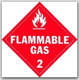 Flammable Gas Class 2 Self Adhesive Vinyl Placards 25/pkg
