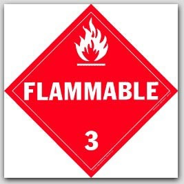 Flammable Class 3 Polycoated Tagboard Placards 25/pkg