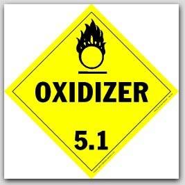 Oxidizer Class 5.1 Self Adhesive Vinyl Placards 25/pkg