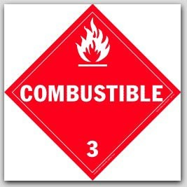 Combustible Class 3 Self Adhesive Vinyl Placards 25/pkg