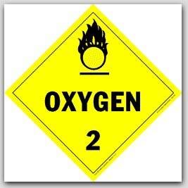 Oxygen Class 2 Self Adhesive Vinyl Placards 25/pkg