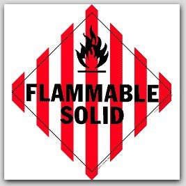 Flammable Solid Class 4 Polycoated Tagboard Placards 25/pkg