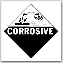 Corrosive Class 8 Polycoated Tagboard Placards 25/pkg
