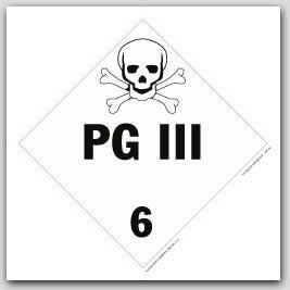 PG III Class 6 Self Adhesive Vinyl Placards 25/pkg